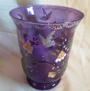 Purple Handpainted Glass Candle Holder
